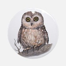 Wide Eyed Owl Ornament (Round)