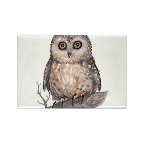 Wide Eyed Owl Rectangle Magnet (100 pack)