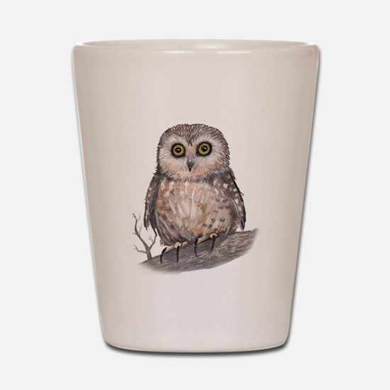 Wide Eyed Owl Shot Glass