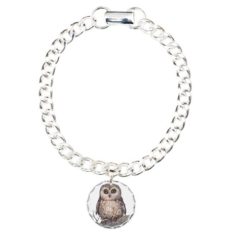 Wide Eyed Owl Charm Bracelet, One Charm