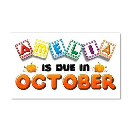 Amelia is Due in October Car Magnet 20 x 12