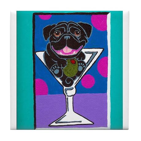 Black Pug Martini II Tile Coaster
