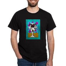 Fawn Pug Martini II Black T-Shirt