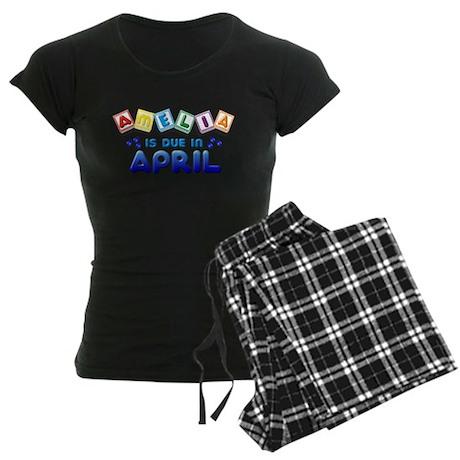 Amelia is Due in April Women's Dark Pajamas