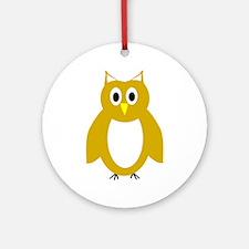 Gold And White Owl Design Ornament (Round)