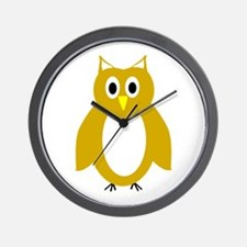 Gold And White Owl Design Wall Clock