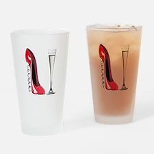 Red Corkscrew Stiletto Shoe a Drinking Glass