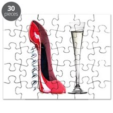 Red Corkscrew Stiletto Shoe a Puzzle