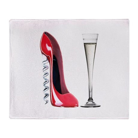 Red Corkscrew Stiletto Shoe a Throw Blanket
