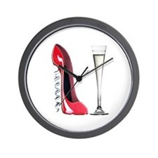 Red Corkscrew Stiletto Shoe a Wall Clock