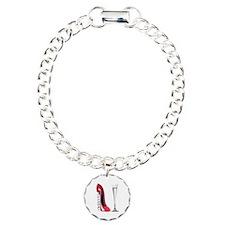 Red Corkscrew Stiletto Shoe a Charm Bracelet, One