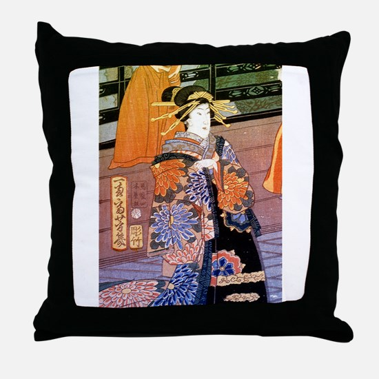 Japanese Noble Woman Throw Pillow
