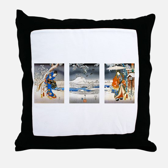 Viewing the Snow Triptich Throw Pillow