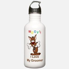 """""""Woof"""" I Love My Groomer Water Bottle"""