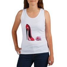 Red Stiletto Shoe and Rose Ar Women's Tank Top