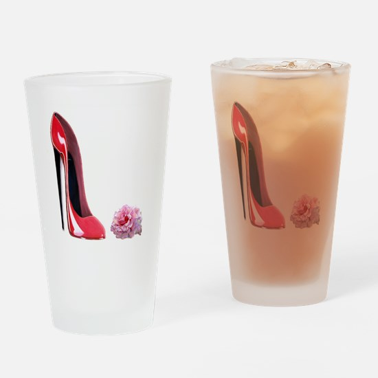 Red Stiletto Shoe and Rose Ar Drinking Glass