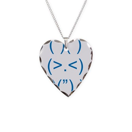 Angry Bunny Blue Necklace Heart Charm