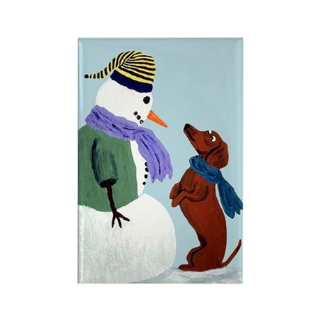 Dachshund And Snowman Rectangle Magnet