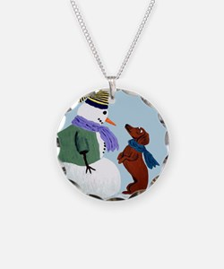 Dachshund And Snowman Necklace