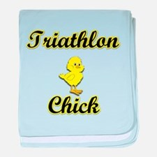 Triathlon Chick baby blanket