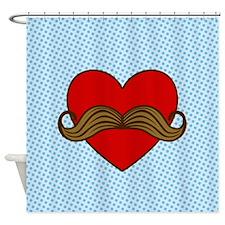 Unique Moustache valentines Shower Curtain