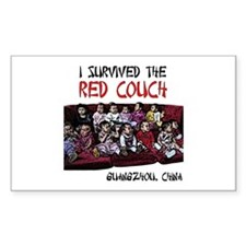 Red Couch Rectangle Decal