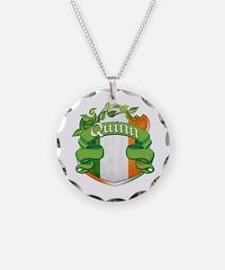 Quinn Shield Necklace Circle Charm