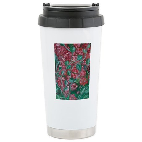 Red Flowers Stainless Steel Travel Mug