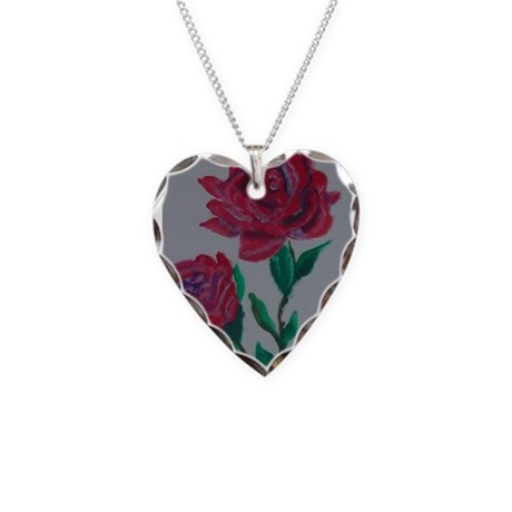 Two Roses Necklace Heart Charm