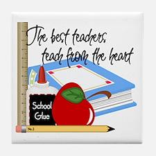 Teach From Heart Tile Coaster