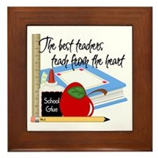 Teach From Heart Framed Tile