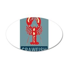 Crawfish In Red and Blue 22x14 Oval Wall Peel