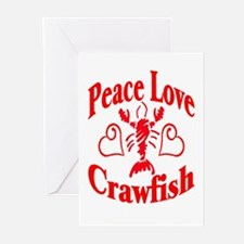 Peace Love Crawfish Greeting Cards (Pk of 10)