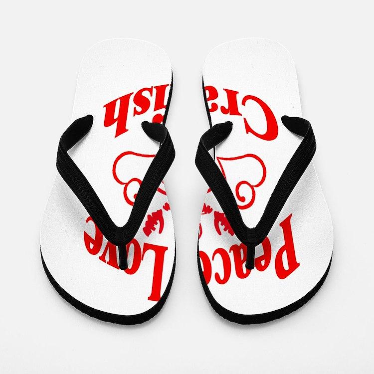 Peace Love Crawfish Flip Flops