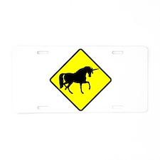 Caution: Unicorn Aluminum License Plate