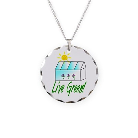 Live Green Greenhouse Necklace Circle Charm