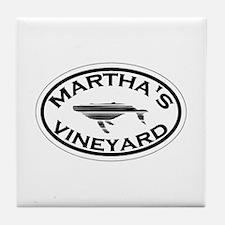 Martha's Vineyard MA - Oval Design. Tile Coaster