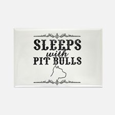 Sleeps with Pit Bulls Rectangle Magnet (10 pack)
