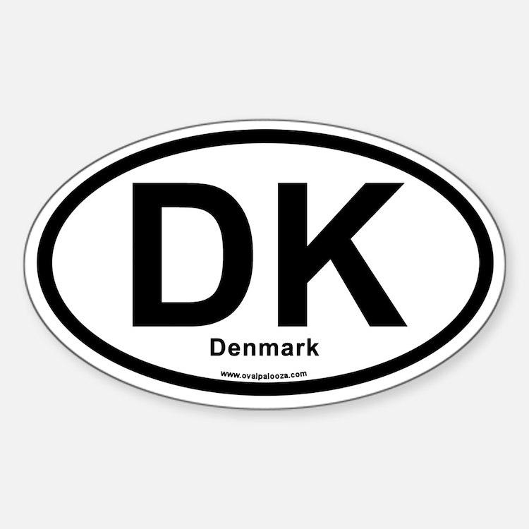 DK Denmark Sticker (Oval)