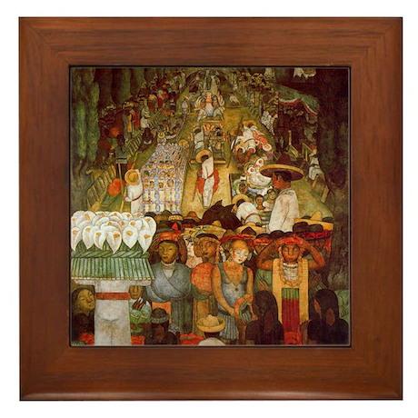 Diego Rivera Art Framed Tile Viernes en el Canal.