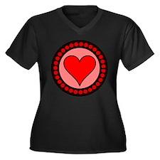 Sealed Heart Women's Plus Size V-Neck Dark T-Shirt
