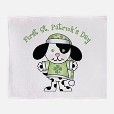 1st St Pats Puppy Throw Blanket
