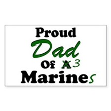 Proud Dad 3 Marines Rectangle Decal