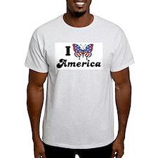 I Love America (Butterfly) Ash Grey T-Shirt