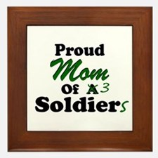 Proud Mom 3 Soldiers Framed Tile