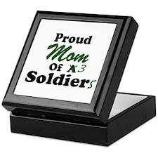 Proud Mom 3 Soldiers Keepsake Box