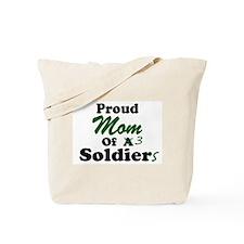 Proud Mom 3 Soldiers Tote Bag