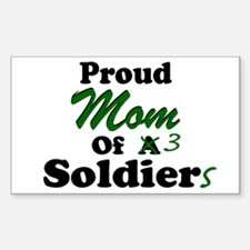 Proud Mom 3 Soldiers Rectangle Decal
