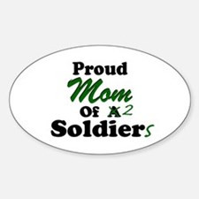 Proud Mom 2 Soldiers Oval Decal