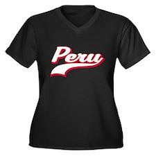 Peru Script Women's Plus Size V-Neck Dark T-Shirt